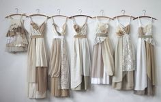 Bridesmaids dresses & Flower girl dress in creams, ivories, tans, taupes, and neutrals.