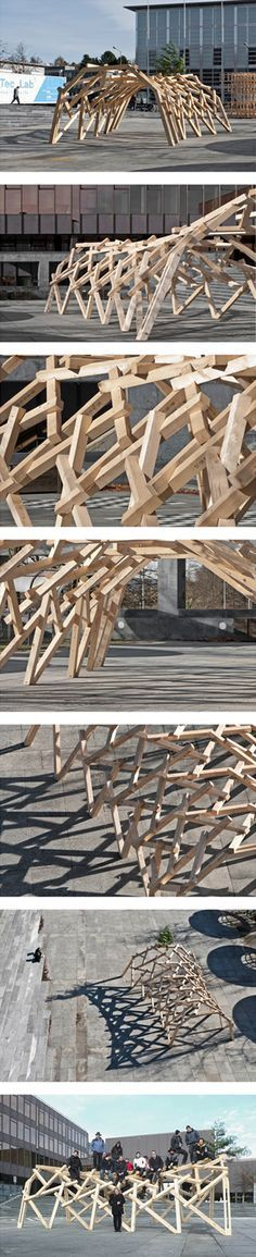 Reciprocal frame structure -  Saddle surface Piazza HIL -  student project led by Swiss architect Udo Thönnissen