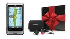 Golf Buddy PT4 Handheld Golf GPS GIFT BOX Bundle | Includes Handheld GPS, PlayBetter USB Car & Wall Adapters & GPS Carry Case | Black Gift Box & Red Bow *** You can find out more details at the link of the image.