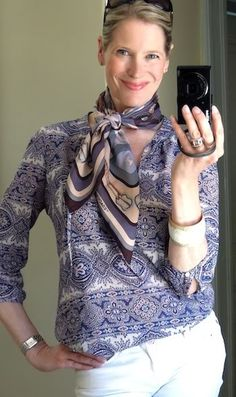 MaiTai's Picture Book: How to wear a scarf with patterned tops - part three