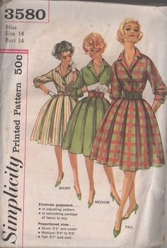 MOMSPatterns Vintage Sewing Patterns - Simplicity 3580 Vintage 60's Sewing Pattern The BEST Rockabilly Mad Men Housewife Single Button Bodice Shirtwaist Box Pleated Skirt Day Dress, Proportioned for Height
