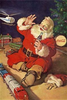1950s coca cola xmas images | This Coca Cola ad from the 1950's clearly illustrates the connection ...