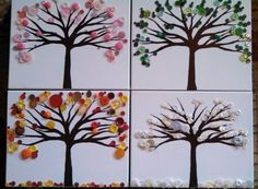 The seasons in button trees acrylic paint on stretched canvas over wood frame on Etsy, $120.00