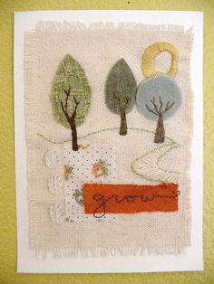 Fabric collage and embroidery