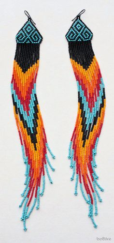 Native American Extra Long Style Chevron Beaded Earrings