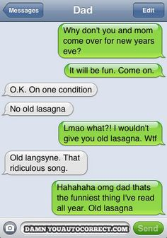 No Old Lasagna--please! I couldn't stop laughing when I read this!