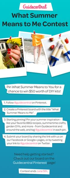 What does summer mean to you? Pin your summer inspiration for a chance to win $50 worth of DIY kits!   The contest is open from 29 May 2015 to 5 June 2015 and the winner with the most creative board will then be chosen by the Guidecentral team and will be announced on Monday, 8 June.