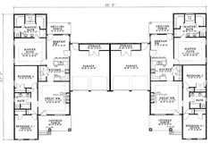Multi-Family Plan 62382 - One-Story Style Multi-Family Plan with 2904 Sq Ft, 6 Bed, 4 Bath, 4 Car Garage Condo Floor Plans, Duplex House Plans, Duplex House Design, Family House Plans, Best House Plans, The Plan, How To Plan, Florence, Apartment Plans