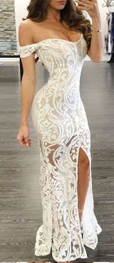 Sexy Prom Dress,Lace Sheath Prom Dresses,Off-the-Shoulder Prom Gown,Long Formal Dress,Lace Evening Dress with Split,Prom Dress 2017,Charming Evening Dress #eveningdresses