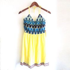 Yellow Halter Sun Dress with Crotchet Details CONDITION: NWT - new with tags  // DESCRIPTION: Yellow halter sundress, multicolor crochet details at top and bottom trim, zipper closure on back, v neck, great for spring and summer  // *From non-smoking home // *Currently NOT accepting trades // *Please feel free to leave any questions! THANK YOU! Dresses