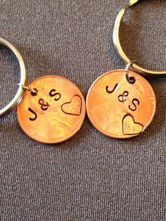 2008 Penny Keychain with Hand Stamped Heart Around Year; 10 Year ...