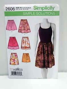 Misses' Pull-On Skirt Pattern, Un Cut Simplicity 2606, Size 14 thru 22, Simple Solutions Pattern, Tailoring Supplies