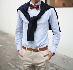 bow tie...as well as the blue beige combination..very nice