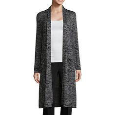 e4317727890076 Worthington Womens Draped Neck Long Sleeve Cardigan - JCPenney