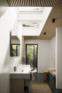 Single storey extension ideas for filling your space with light with roof window. - VELUX extensions competition 2018 – bring in more daylight , Skylight Bathroom, Skylight Window, Roof Window, Loft Bathroom, Flat Roof Skylights, Modern Skylights, Single Storey Extension, Roof Extension, Extension Ideas