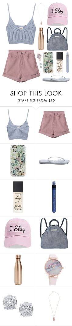 """""""Summer Moon"""" by regkelly ❤ liked on Polyvore featuring Chicnova Fashion, Casetify, Havaianas, NARS Cosmetics, Steve Madden, Marc by Marc Jacobs, S'well, Effy Jewelry and Jade Jagger"""