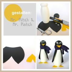 penguins made from Actimel bottles
