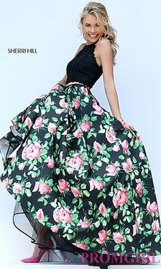 Long Two Piece Dress with Lace Top and Floral Print Skirt by Sherri Hill at PromGirl.com