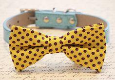 Blue and Yellow Dog Bow tie #blue #yellow #dog #bow #tie #bowtie #blueweding #blueyellow #yellowwedding #polkadots #spring #beach #beachwedding #accessories #accessory