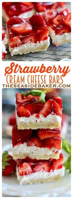 Low Unwanted Fat Cooking For Weightloss Dessert Recipe - Strawberry Cream Cheese Bars Buttery Shortbread Crust, Creamy Cheesecake Filling, And Fresh Glazed Strawberry Bars - So Delicious See This And Other Delicious Recipes Mini Desserts, Easy Desserts, Delicious Desserts, Dessert Recipes, Yummy Food, Desserts With Strawberries Easy, Cream Cheese Strawberries, Strawberry Cream Cheese Dessert, Fresh Strawberry Desserts