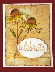 Tim Holtz/Stampers Anonymous Flower Garden stamp; Cuttlebug Honeycomb embossing folder and Tim's Labels.