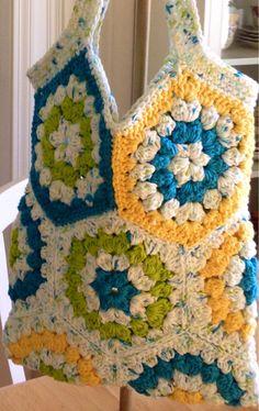 Tote bag market bag hexagon  crochet bag by BsCozyCottageCrafts