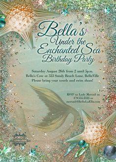 Mermaid Invitations Mermaid Party Mermaid Pool by BellaLuElla