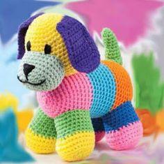 Hilando ideas....muñecos amigurumis tejidos en crochet: perrito multicolor tejido en crochet Crochet Dog Patterns, Crochet Headband Pattern, Crochet Lace Edging, Crochet Gifts, Crochet Toys, Crochet Baby, Crochet Christmas Garland, Crocodile Stitch, Crochet Animals
