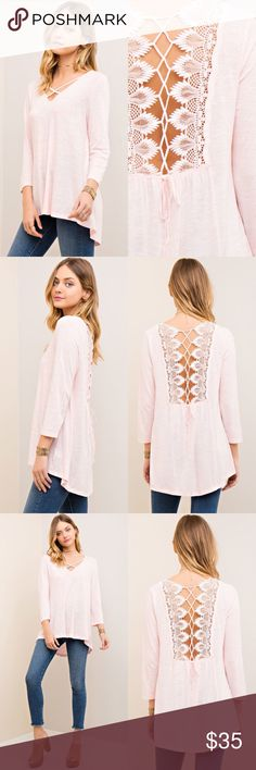 Pink Lace Back Blouse Details:  * Color: True Pink * Crochet Lace Detail Back * Criss-Cross Neck Detail * 3/4 Sleeves * Light Weight, Comfortable Wear * 100% Cotton  Model is wearing size Small.   S: M: L:  •••••••••••••••••••••••••••••••••••••••••••  Hello! I'm Monika. I'm a Boutique Owner & Boutique Coach. Welcome to my closet!   Let's keep in touch  Instagram: @monikarosesf YouTube: MonikaRoseSF Snapchat: itsmonikarose Monika Rose SF Tops Blouses