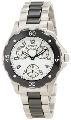 Invicta Womens 1654 Angel White Dial Black Ceramic and Watch ** Click image to review more details.