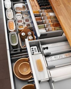 Using dividers and clear containers helps keep your drawers in check!