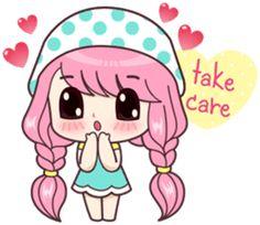 Cute Cartoon Pictures, Cute Cartoon Girl, Cute Love Pictures, Cute Love Cartoons, Kawaii Stickers, Cute Stickers, Kawaii Drawings, Cartoon Drawings, Hug Love Gif