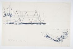 Sketches of the Butterfly House from 1956 display the singular unity of…