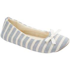 John Lewis Ballerina Slippers, Blue Stripe