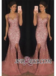 USD$219.00 - Gorgeous Sleeveless V-neck Crystal 2018 Evening Dress Mermaid With Crystal - www.27dress.com