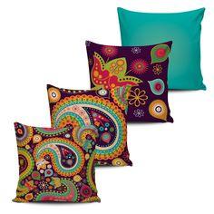 Conjunto 4 Almofadas Decorativas Florais - modelo 5