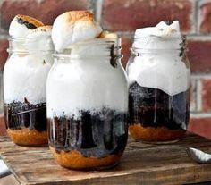 Smores cake in a jar
