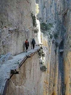 El Camino del Rey (King's pathway) in Malaga, Spain. The walkway is 3 feet and 3 inches in width, and rises over 350 feet above the river below. Places Around The World, The Places Youll Go, Places To See, Around The Worlds, Scary Places, Beautiful World, Beautiful Places, Malaga Spain, Andalucia Spain