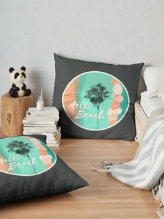"""Hello Beach"" Floor Pillow by Mandsred1 