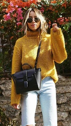 #winter #outfits yellow knitted sweater