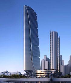 Adrian Smith + Gordon Gill Architecture proposal for Crown Barangaroo, Sydney