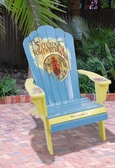 "Fun Colorful Hand Painted Adirondack Chairs ~ Jimmy Buffet Style! ""5 O'Clock Painted Wood Adirondack Margaritaville Deck Beach Chair Outdoor Buffet"". $279.99"