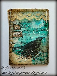 Altered Mini Playing Card - week 22 - more on the blog!  by #ingridkristinav #ingridscraftscorner