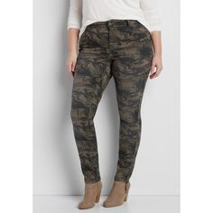 maurices Plus Size - Denimflex™ Jegging In Olive Green Camo Print,... ($44) ❤ liked on Polyvore featuring pants, leggings, plus size, plus size jeggings, jean leggings, plus size camo pants, women's plus size pants and camouflage leggings