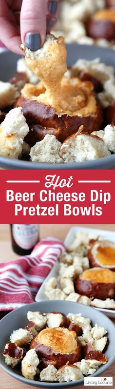 Warm Beer Cheese Dip in individual pretzel bread bowls. A crowd pleasing appetizer recipe for any party! Perfect for football games or fall party.