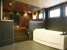 Tumma kylpyhuone, amme, suuri seinälaatta, sauna,
