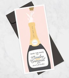 Fun save the date with champagne bottle See more here: https://www.etsy.com/listing/264003958/fun-save-the-date-card-with-champagne?ref=shop_home_feat_2