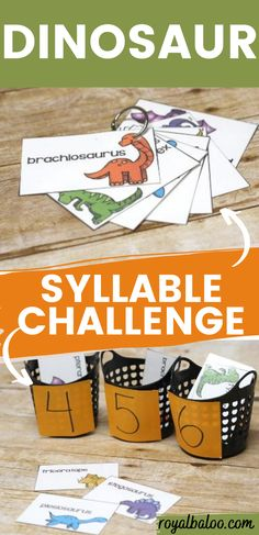 Syllable practice made fun! Sort these dinosaur cards into the number of syllables. Pronounciation guide on the back. Dinosaur Cards, Cycle 3, Syllable, Learn To Read, Dinosaurs, Foundation, Preschool, Challenges, Activities