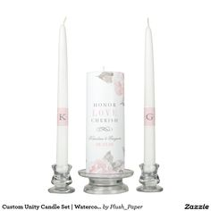 Custom Unity Candle Set | Watercolor Roses Custom unity candle set for a marriage ceremony features a monogram of the bride and groom names, first name initials on the taper candles, pink watercolor roses design, and Honor, Love, Cherish personalized monogram. Pink quartz and pewter gray colors.