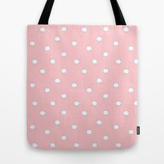 White Dots on Light Baby Pink Tote Bag